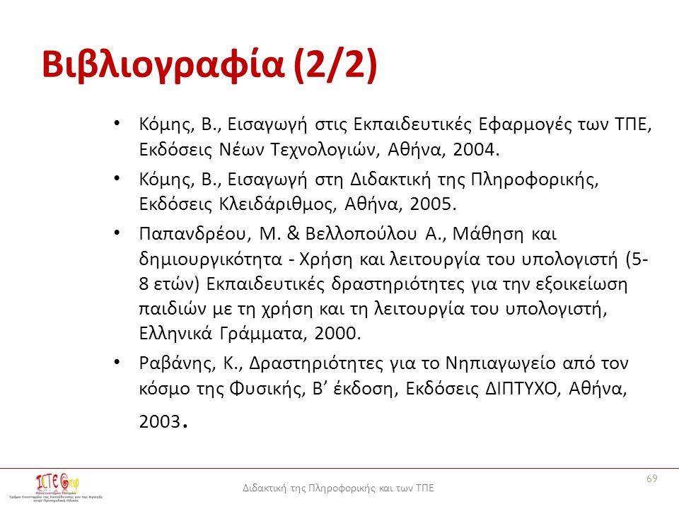 Διδακτική της Πληροφορικής και των ΤΠΕ Βιβλιογραφία (2/2) Κόμης, Β., Εισαγωγή στις Εκπαιδευτικές Εφαρμογές των ΤΠΕ, Εκδόσεις Νέων Τεχνολογιών, Αθήνα, 2004.