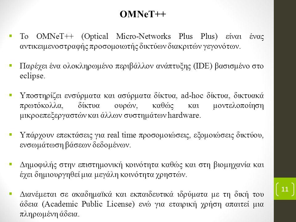 11 OMNeT++  Το OMNeT++ (Optical Micro-Networks Plus Plus) είναι ένας αντικειμενοστραφής προσομοιωτής δικτύων διακριτών γεγονότων.  Παρέχει ένα ολοκλ