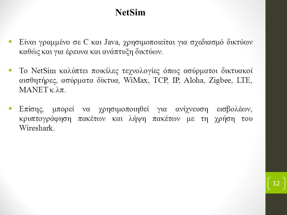 12 NetSim  Είναι γραμμένο σε C και Java, χρησιμοποιείται για σχεδιασμό δικτύων καθώς και για έρευνα και ανάπτυξη δικτύων.  Το NetSim καλύπτει ποικίλ