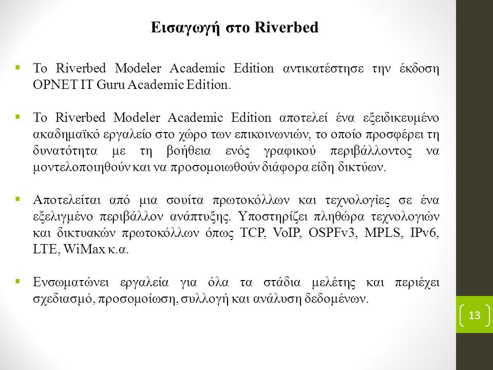 13 Εισαγωγή στο Riverbed  To Riverbed Modeler Academic Edition αντικατέστησε την έκδοση OPNET IT Guru Academic Edition.  Το Riverbed Modeler Academi