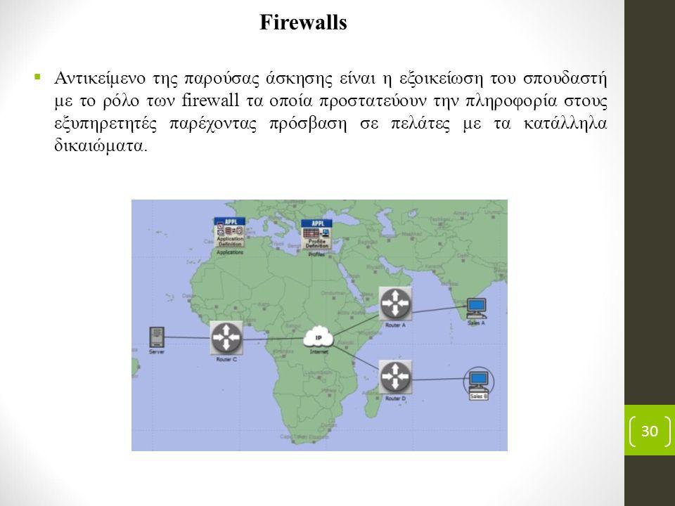30 Firewalls  Αντικείμενο της παρούσας άσκησης είναι η εξοικείωση του σπουδαστή με το ρόλο των firewall τα οποία προστατεύουν την πληροφορία στους εξυπηρετητές παρέχοντας πρόσβαση σε πελάτες με τα κατάλληλα δικαιώματα.