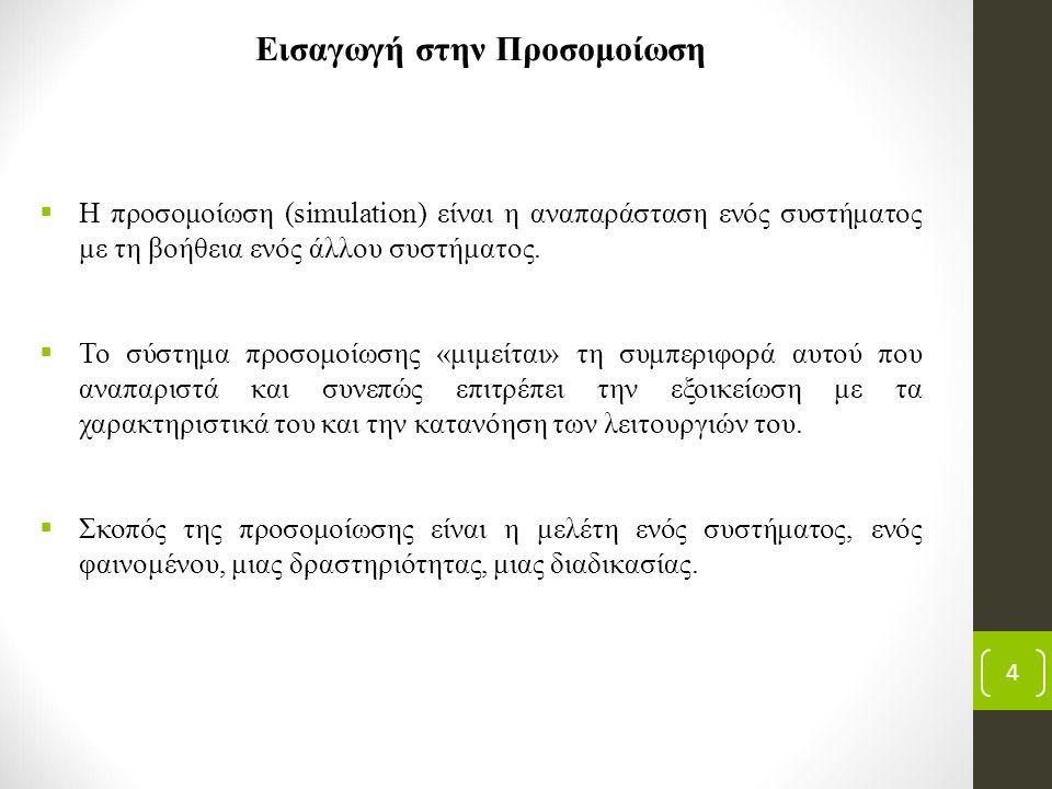 Εισαγωγή στην Προσομοίωση  Η προσομοίωση (simulation) είναι η αναπαράσταση ενός συστήματος με τη βοήθεια ενός άλλου συστήματος.  Το σύστημα προσομοί