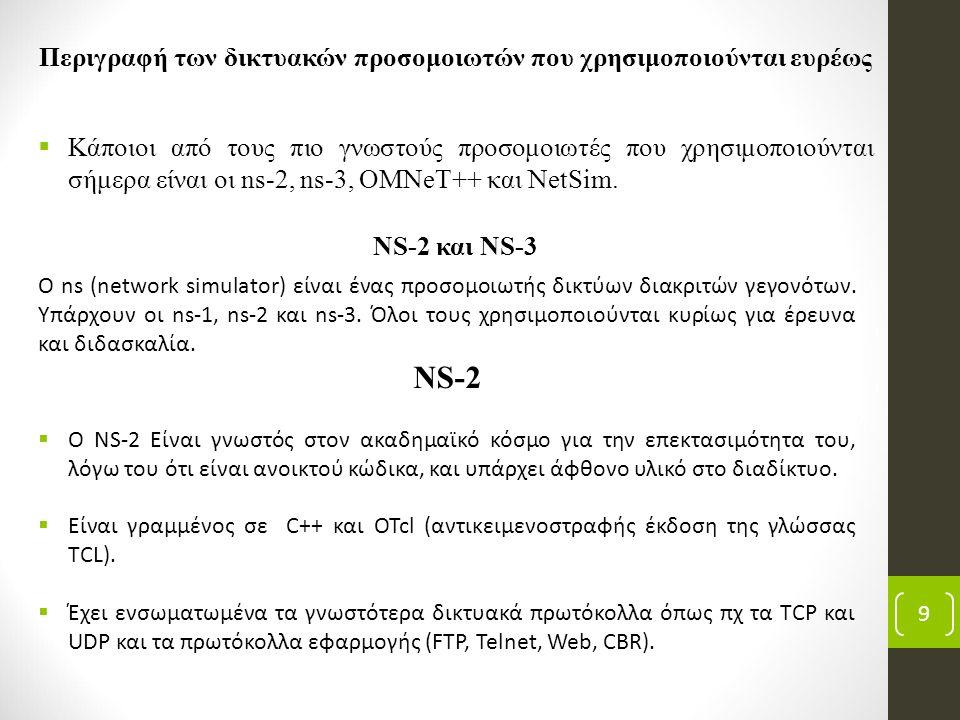 Περιγραφή των δικτυακών προσομοιωτών που χρησιμοποιούνται ευρέως  Κάποιοι από τους πιο γνωστούς προσομοιωτές που χρησιμοποιούνται σήμερα είναι οι ns-2, ns-3, OMNeT++ και NetSim.