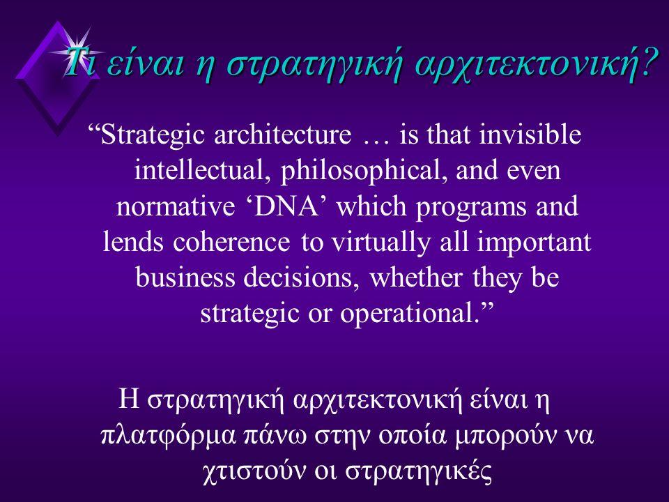 """Τι είναι η στρατηγική αρχιτεκτονική? """"Strategic architecture … is that invisible intellectual, philosophical, and even normative 'DNA' which programs"""