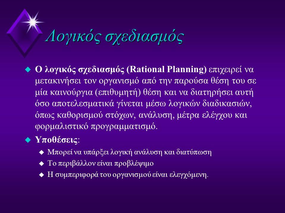 Λογικός σχεδιασμός u Ο λογικός σχεδιασμός (Rational Planning) επιχειρεί να μετακινήσει τον οργανισμό από την παρούσα θέση του σε μία καινούργια (επιθυ