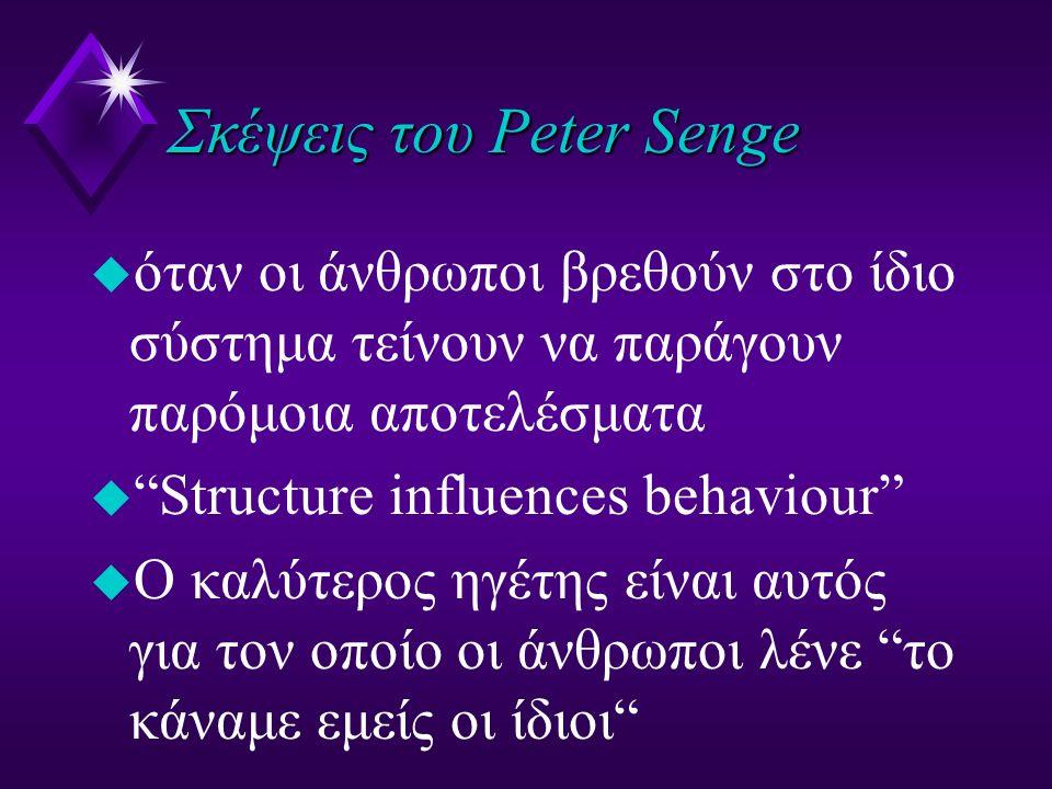 """Σκέψεις του Peter Senge u όταν οι άνθρωποι βρεθούν στο ίδιο σύστημα τείνουν να παράγουν παρόμοια αποτελέσματα u """"Structure influences behaviour"""" u O κ"""