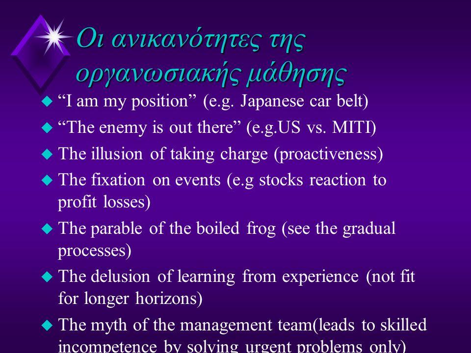 """Οι ανικανότητες της οργανωσιακής μάθησης u """"I am my position"""" (e.g. Japanese car belt) u """"The enemy is out there"""" (e.g.US vs. MITI) u The illusion of"""
