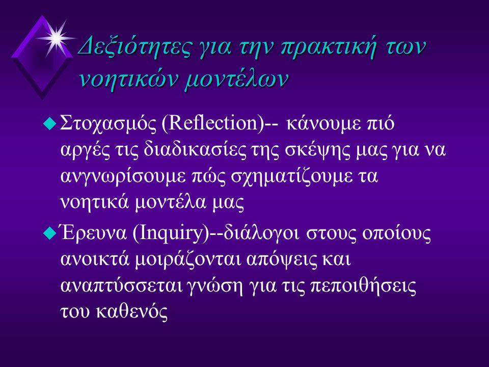 Δεξιότητες για την πρακτική των νοητικών μοντέλων u Στοχασμός (Reflection)-- κάνουμε πιό αργές τις διαδικασίες της σκέψης μας για να ανγνωρίσουμε πώς