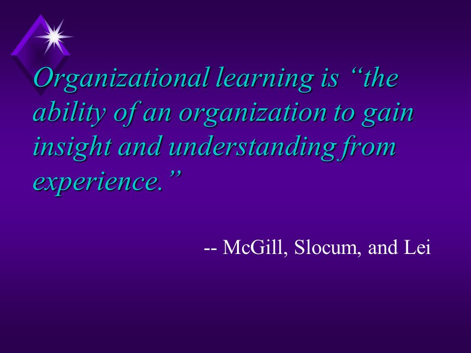 Organizational learning is the ability of an organization to gain insight and understanding from experience. -- McGill, Slocum, and Lei