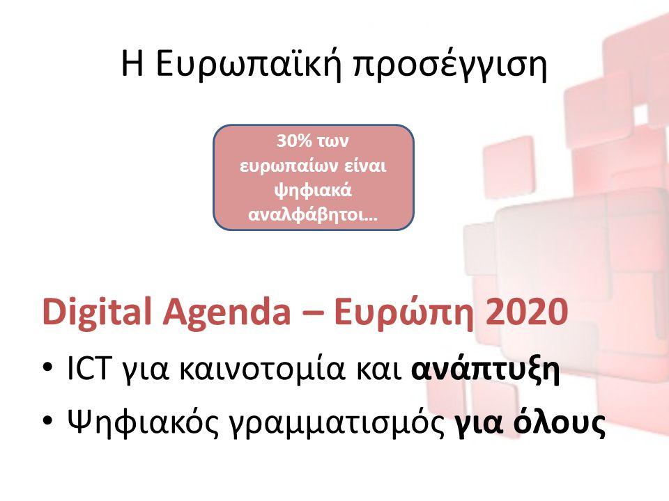 Η Ευρωπαϊκή προσέγγιση Digital Agenda – Ευρώπη 2020 ICT για καινοτομία και ανάπτυξη Ψηφιακός γραμματισμός για όλους 30% των ευρωπαίων είναι ψηφιακά αναλφάβητοι…