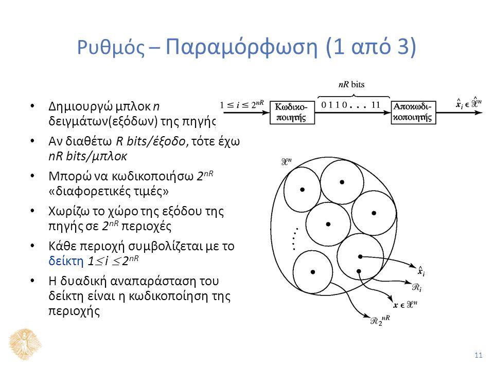 11 Ρυθμός – Παραμόρφωση (1 από 3) Δημιουργώ μπλοκ n δειγμάτων(εξόδων) της πηγής Αν διαθέτω R bits/έξοδο, τότε έχω nR bits/μπλοκ Μπορώ να κωδικοποιήσω 2 nR «διαφορετικές τιμές» Χωρίζω το χώρο της εξόδου της πηγής σε 2 nR περιοχές Κάθε περιοχή συμβολίζεται με το δείκτη 1  i  2 nR Η δυαδική αναπαράσταση του δείκτη είναι η κωδικοποίηση της περιοχής