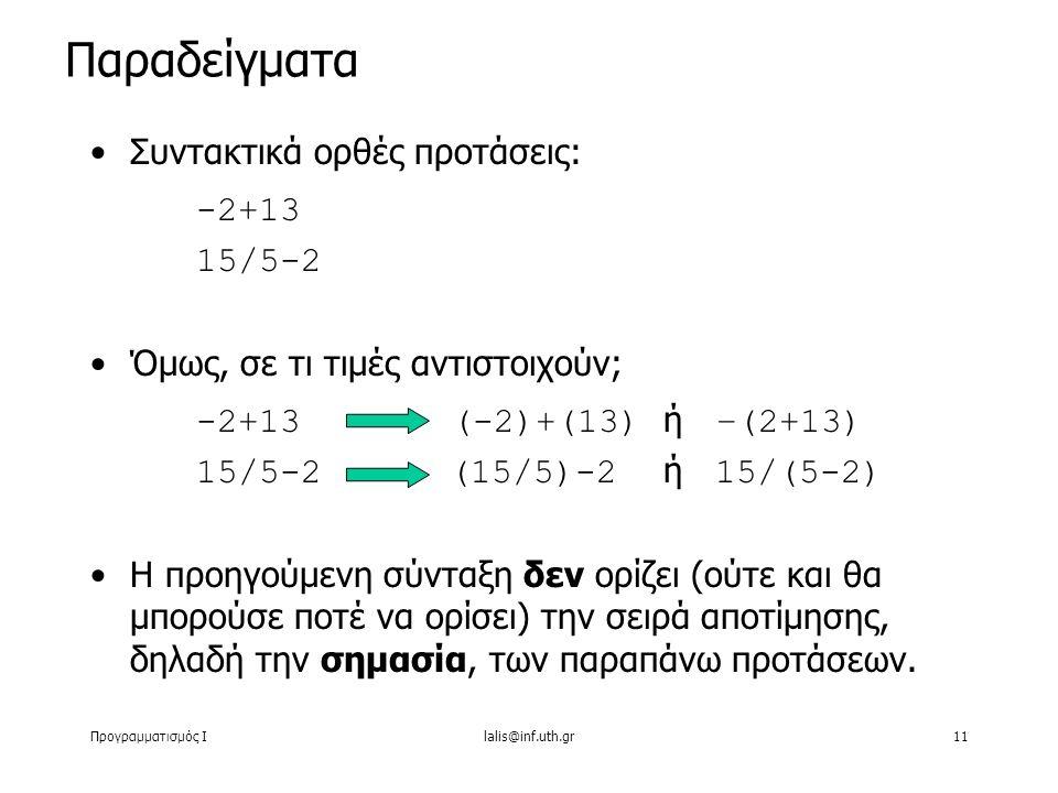 Προγραμματισμός Ιlalis@inf.uth.gr11 Συντακτικά ορθές προτάσεις: -2+13 15/5-2 Όμως, σε τι τιμές αντιστοιχούν; -2+13 (-2)+(13) ή –(2+13) 15/5-2 (15/5)-2