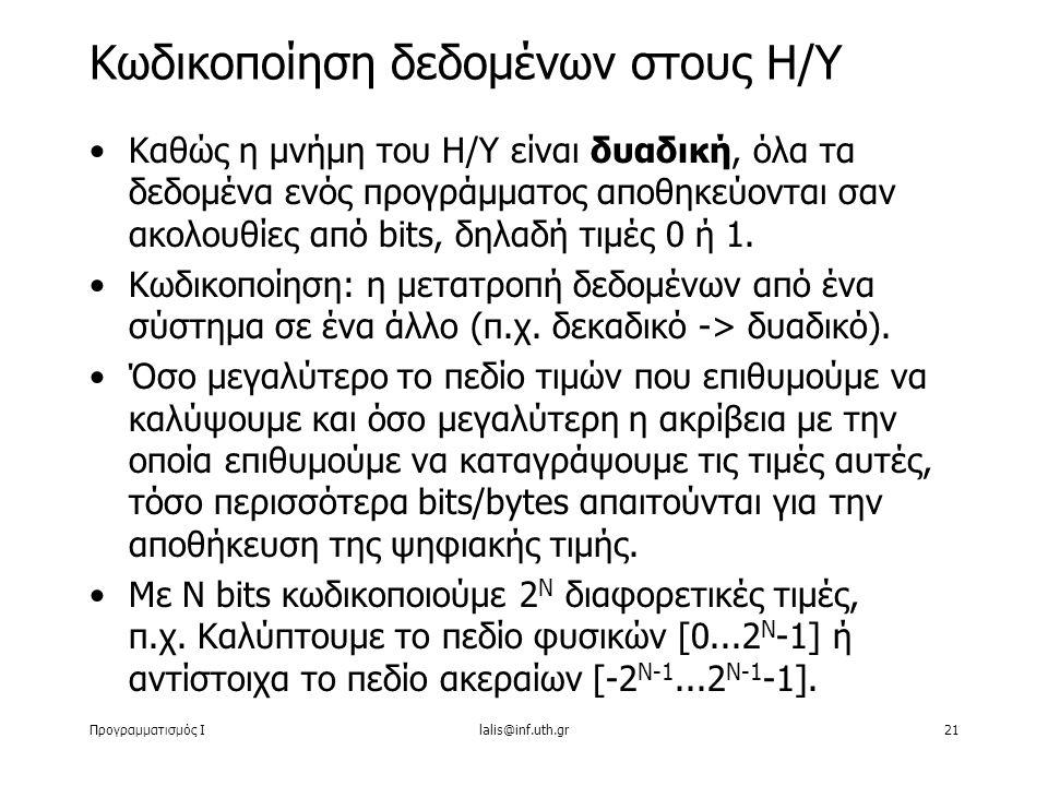 Προγραμματισμός Ιlalis@inf.uth.gr21 Καθώς η μνήμη του Η/Υ είναι δυαδική, όλα τα δεδομένα ενός προγράμματος αποθηκεύονται σαν ακολουθίες από bits, δηλα