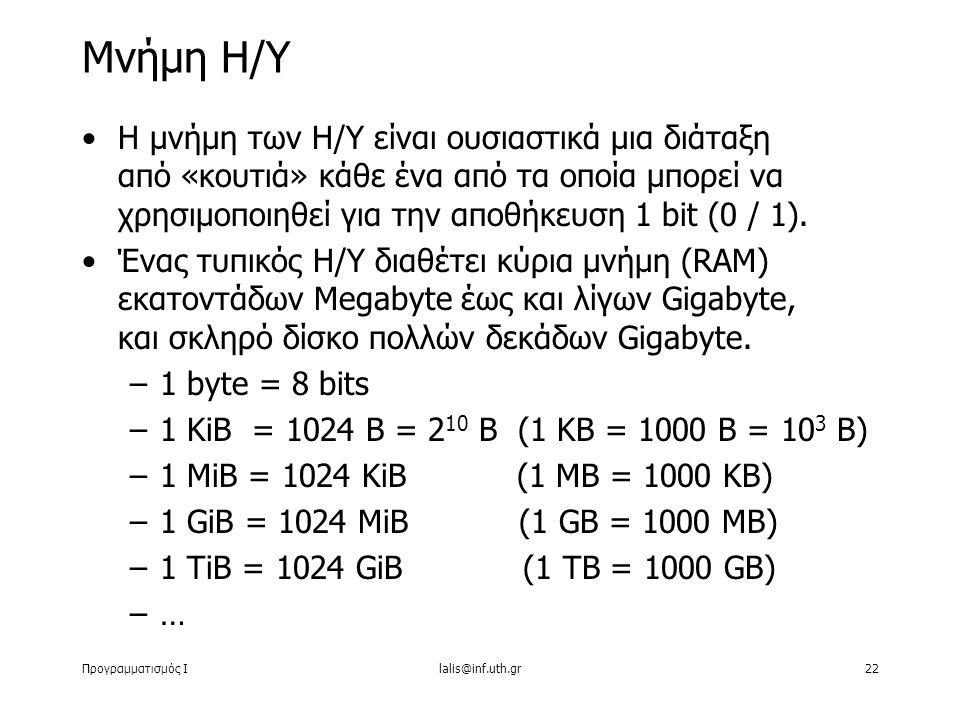 Προγραμματισμός Ιlalis@inf.uth.gr22 Η μνήμη των Η/Υ είναι ουσιαστικά μια διάταξη από «κουτιά» κάθε ένα από τα οποία μπορεί να χρησιμοποιηθεί για την α