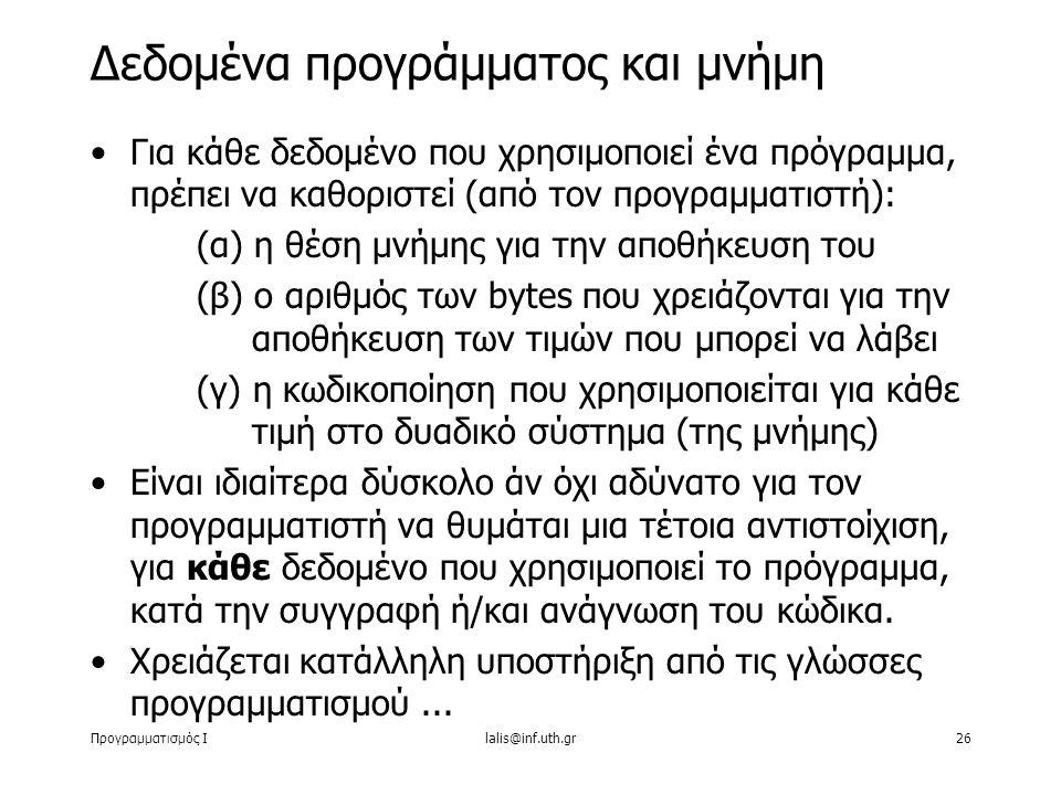 Προγραμματισμός Ιlalis@inf.uth.gr26 Για κάθε δεδομένο που χρησιμοποιεί ένα πρόγραμμα, πρέπει να καθοριστεί (από τον προγραμματιστή): (α) η θέση μνήμης