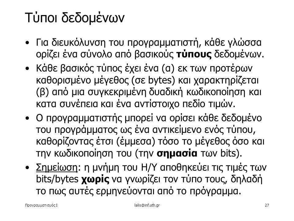 Προγραμματισμός Ιlalis@inf.uth.gr27 Για διευκόλυνση του προγραμματιστή, κάθε γλώσσα ορίζει ένα σύνολο από βασικούς τύπους δεδομένων. Κάθε βασικός τύπο