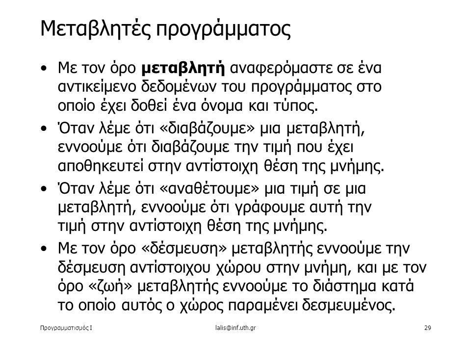 Προγραμματισμός Ιlalis@inf.uth.gr29 Με τον όρο μεταβλητή αναφερόμαστε σε ένα αντικείμενο δεδομένων του προγράμματος στο οποίο έχει δοθεί ένα όνομα και