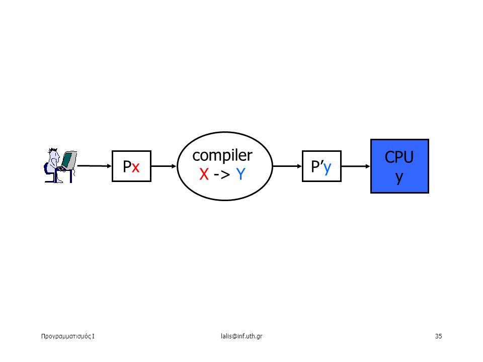 Προγραμματισμός Ιlalis@inf.uth.gr35 PxPx CPU y compiler Χ -> Y P'y
