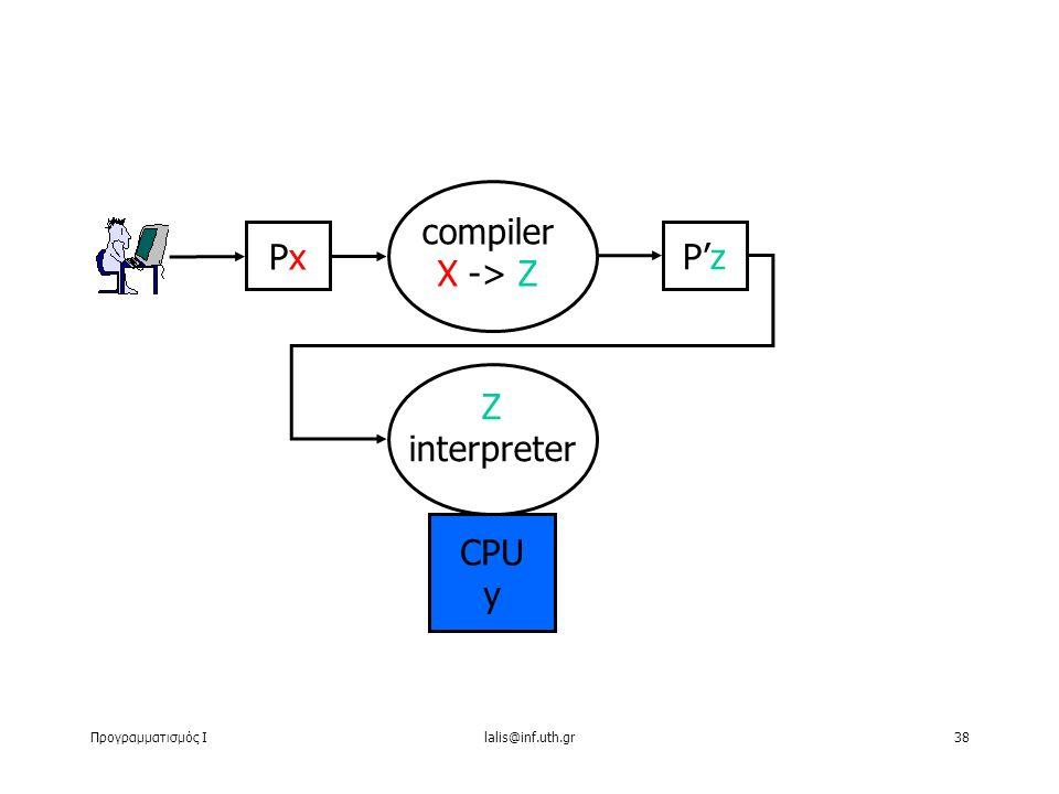 Προγραμματισμός Ιlalis@inf.uth.gr38 PxPx CPU y compiler X -> Z P'z Z interpreter