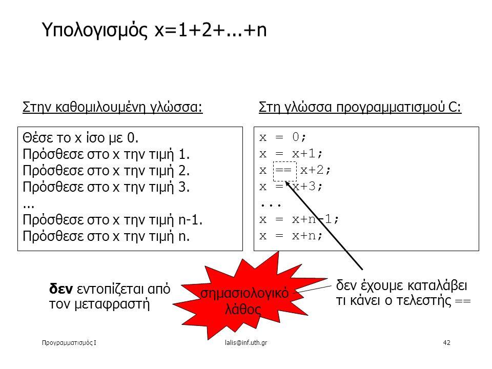 Προγραμματισμός Ιlalis@inf.uth.gr42 Υπολογισμός x=1+2+...+n Στην καθομιλουμένη γλώσσα: Θέσε το x ίσο με 0. Πρόσθεσε στο x την τιμή 1. Πρόσθεσε στο x τ