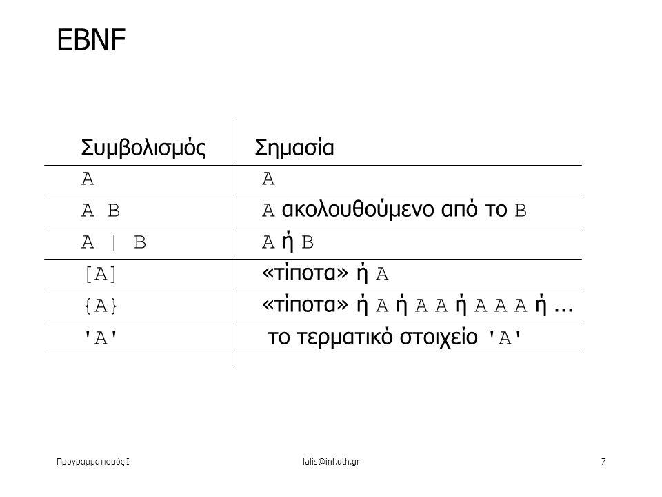 Προγραμματισμός Ιlalis@inf.uth.gr8 ΣυμβολισμόςΣημασία Α Α και μετά Β Α ή Β «τίποτα» ή Α «τίποτα» ή Α ή Α Α ή Α Α Α ή...