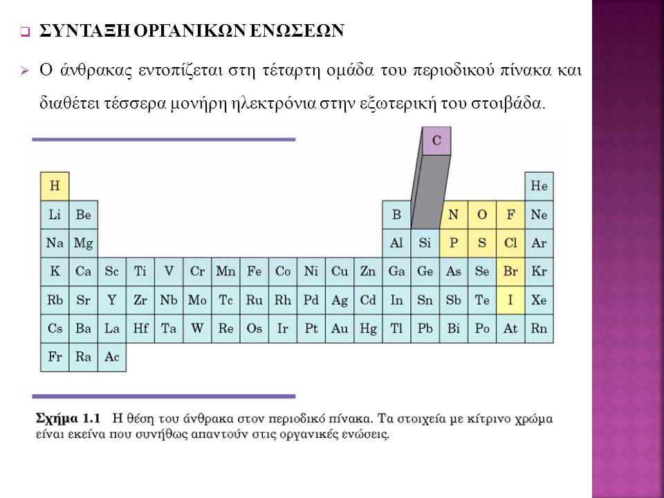  ΣΥΝΤΑΞΗ ΟΡΓΑΝΙΚΩΝ ΕΝΩΣΕΩΝ  Ο άνθρακας εντοπίζεται στη τέταρτη ομάδα του περιοδικού πίνακα και διαθέτει τέσσερα μονήρη ηλεκτρόνια στην εξωτερική του στοιβάδα.