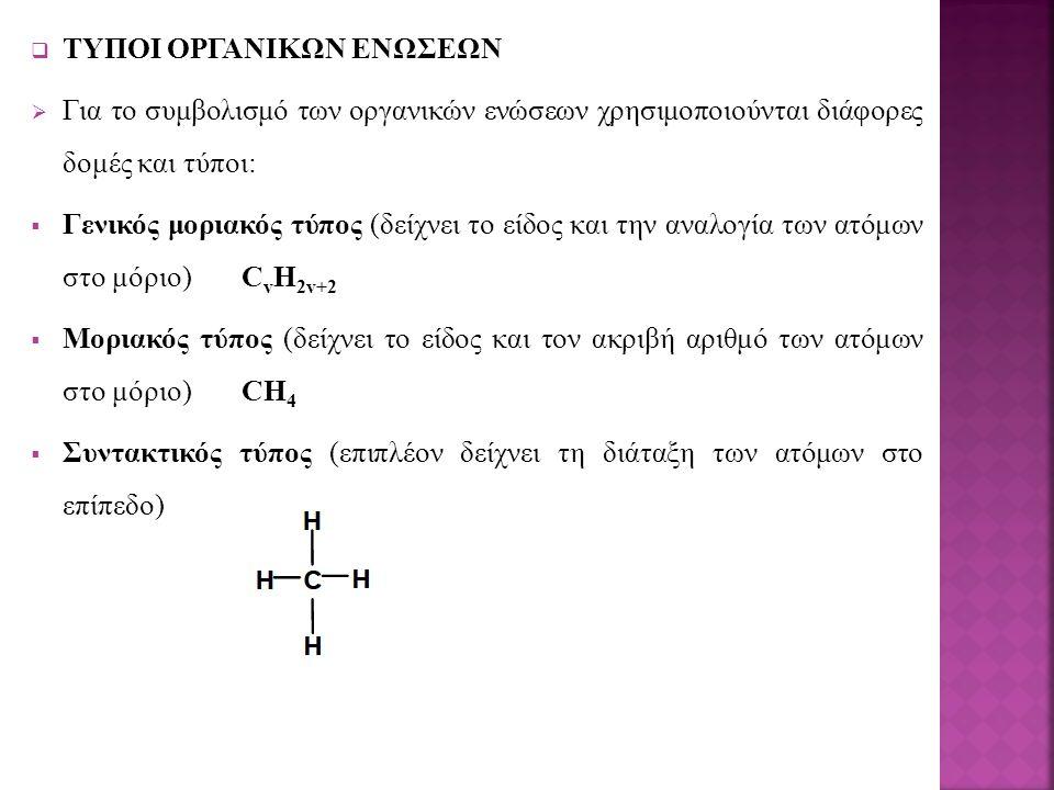  ΤΥΠΟΙ ΟΡΓΑΝΙΚΩΝ ΕΝΩΣΕΩΝ  Για το συμβολισμό των οργανικών ενώσεων χρησιμοποιούνται διάφορες δομές και τύποι:  Γενικός μοριακός τύπος (δείχνει το είδος και την αναλογία των ατόμων στο μόριο) C v H 2v+2  Μοριακός τύπος (δείχνει το είδος και τον ακριβή αριθμό των ατόμων στο μόριο)CH 4  Συντακτικός τύπος (επιπλέον δείχνει τη διάταξη των ατόμων στο επίπεδο)