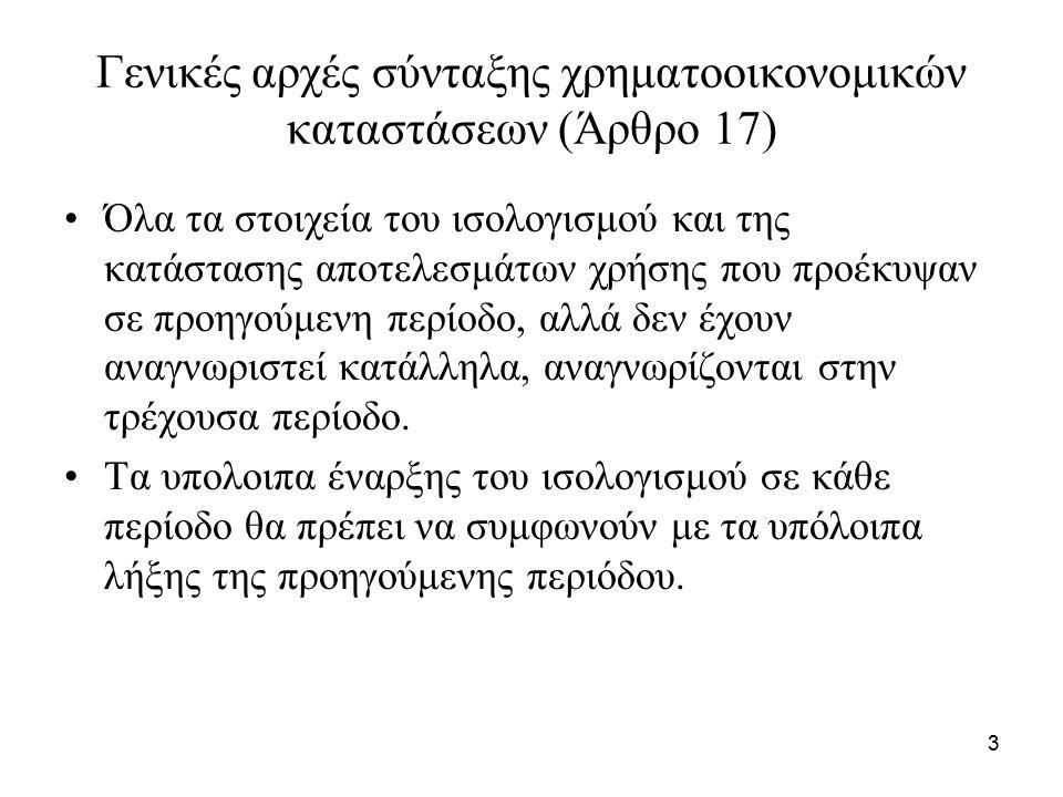 3 Γενικές αρχές σύνταξης χρηματοοικονομικών καταστάσεων (Άρθρο 17) Όλα τα στοιχεία του ισολογισμού και της κατάστασης αποτελεσμάτων χρήσης που προέκυψ
