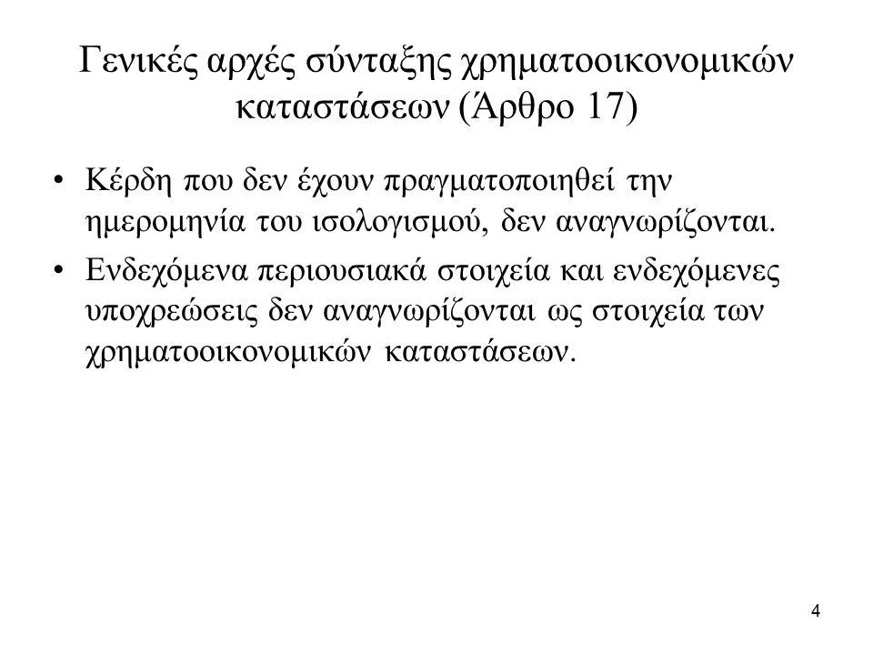 4 Γενικές αρχές σύνταξης χρηματοοικονομικών καταστάσεων (Άρθρο 17) Κέρδη που δεν έχουν πραγματοποιηθεί την ημερομηνία του ισολογισμού, δεν αναγνωρίζον
