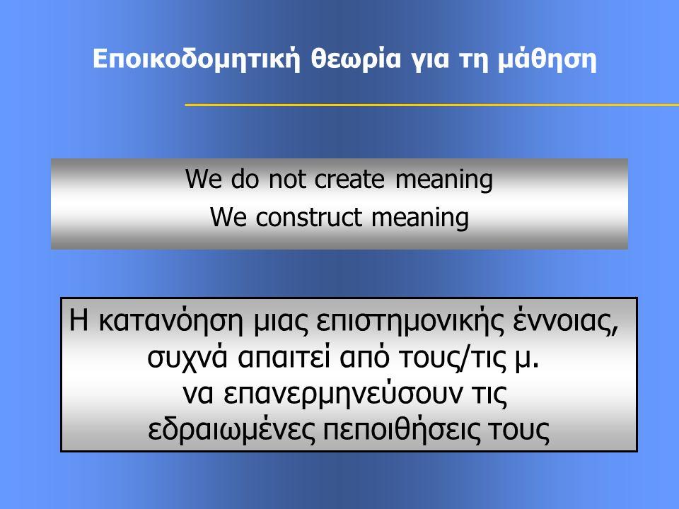 Εποικοδομητική θεωρία για τη μάθηση We do not create meaning We construct meaning Η κατανόηση μιας επιστημονικής έννοιας, συχνά απαιτεί από τους/τις μ.