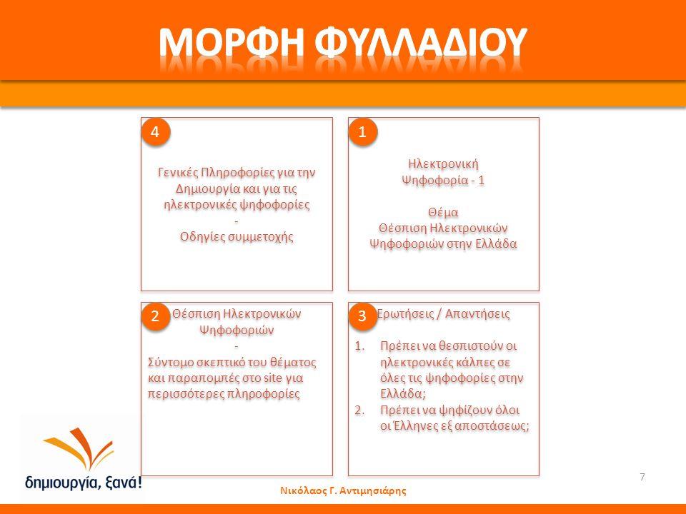Νικόλαος Γ. Αντιμησιάρης 7 Ηλεκτρονική Ψηφοφορία - 1 Θέμα Θέσπιση Ηλεκτρονικών Ψηφοφοριών στην Ελλάδα Ηλεκτρονική Ψηφοφορία - 1 Θέμα Θέσπιση Ηλεκτρονι