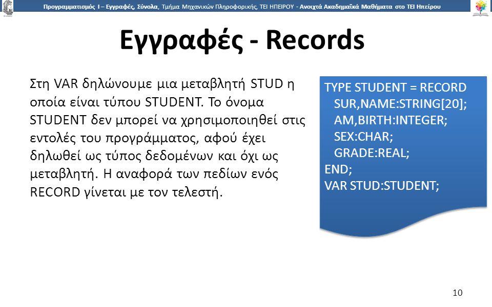 1010 Προγραμματισμός Ι – Εγγραφές, Σύνολα, Τμήμα Μηχανικών Πληροφορικής, ΤΕΙ ΗΠΕΙΡΟΥ - Ανοιχτά Ακαδημαϊκά Μαθήματα στο ΤΕΙ Ηπείρου Εγγραφές - Records 10 Στη VAR δηλώνουμε μια μεταβλητή STUD η οποία είναι τύπου STUDENT.