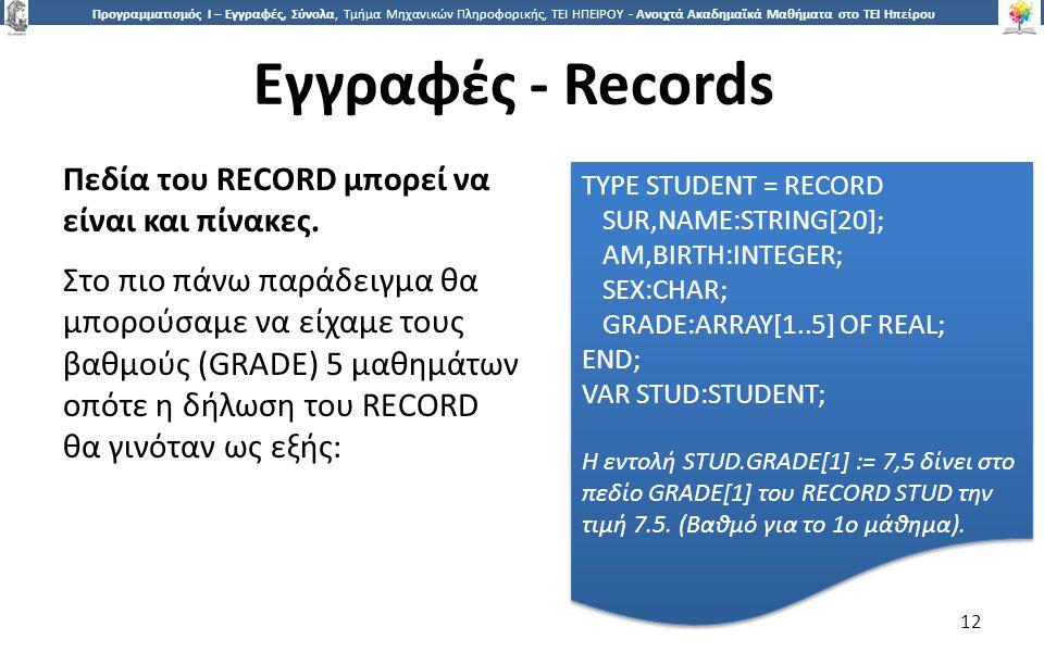 1212 Προγραμματισμός Ι – Εγγραφές, Σύνολα, Τμήμα Μηχανικών Πληροφορικής, ΤΕΙ ΗΠΕΙΡΟΥ - Ανοιχτά Ακαδημαϊκά Μαθήματα στο ΤΕΙ Ηπείρου Εγγραφές - Records 12 Πεδία του RECORD μπορεί να είναι και πίνακες.