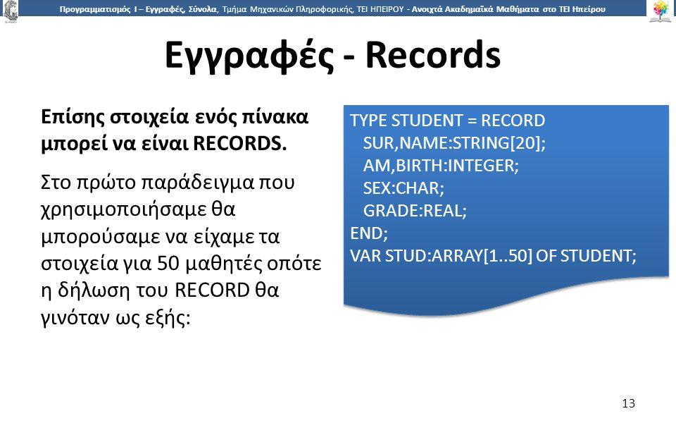 1313 Προγραμματισμός Ι – Εγγραφές, Σύνολα, Τμήμα Μηχανικών Πληροφορικής, ΤΕΙ ΗΠΕΙΡΟΥ - Ανοιχτά Ακαδημαϊκά Μαθήματα στο ΤΕΙ Ηπείρου Εγγραφές - Records 13 Επίσης στοιχεία ενός πίνακα μπορεί να είναι RECORDS.