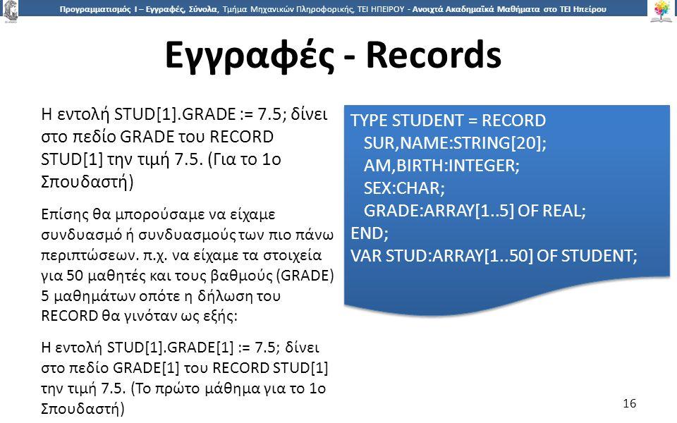 1616 Προγραμματισμός Ι – Εγγραφές, Σύνολα, Τμήμα Μηχανικών Πληροφορικής, ΤΕΙ ΗΠΕΙΡΟΥ - Ανοιχτά Ακαδημαϊκά Μαθήματα στο ΤΕΙ Ηπείρου Εγγραφές - Records 16 Η εντολή STUD[1].GRADE := 7.5; δίνει στο πεδίο GRADE του RECORD STUD[1] την τιμή 7.5.