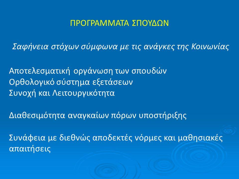 ΠΡΟΓΡΑΜΜΑΤΑ ΣΠΟΥΔΩΝ Σαφήνεια στόχων σύμφωνα με τις ανάγκες της Κοινωνίας Αποτελεσματική οργάνωση των σπουδών Ορθολογικό σύστημα εξετάσεων Συνοχή και Λ