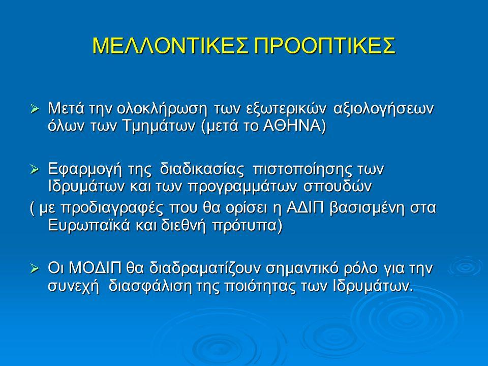  Μετά την ολοκλήρωση των εξωτερικών αξιολογήσεων όλων των Τμημάτων (μετά το ΑΘΗΝΑ)  Εφαρμογή της διαδικασίας πιστοποίησης των Ιδρυμάτων και των προγραμμάτων σπουδών ( με προδιαγραφές που θα ορίσει η ΑΔΙΠ βασισμένη στα Ευρωπαϊκά και διεθνή πρότυπα)  Οι ΜΟΔΙΠ θα διαδραματίζουν σημαντικό ρόλο για την συνεχή διασφάλιση της ποιότητας των Ιδρυμάτων.