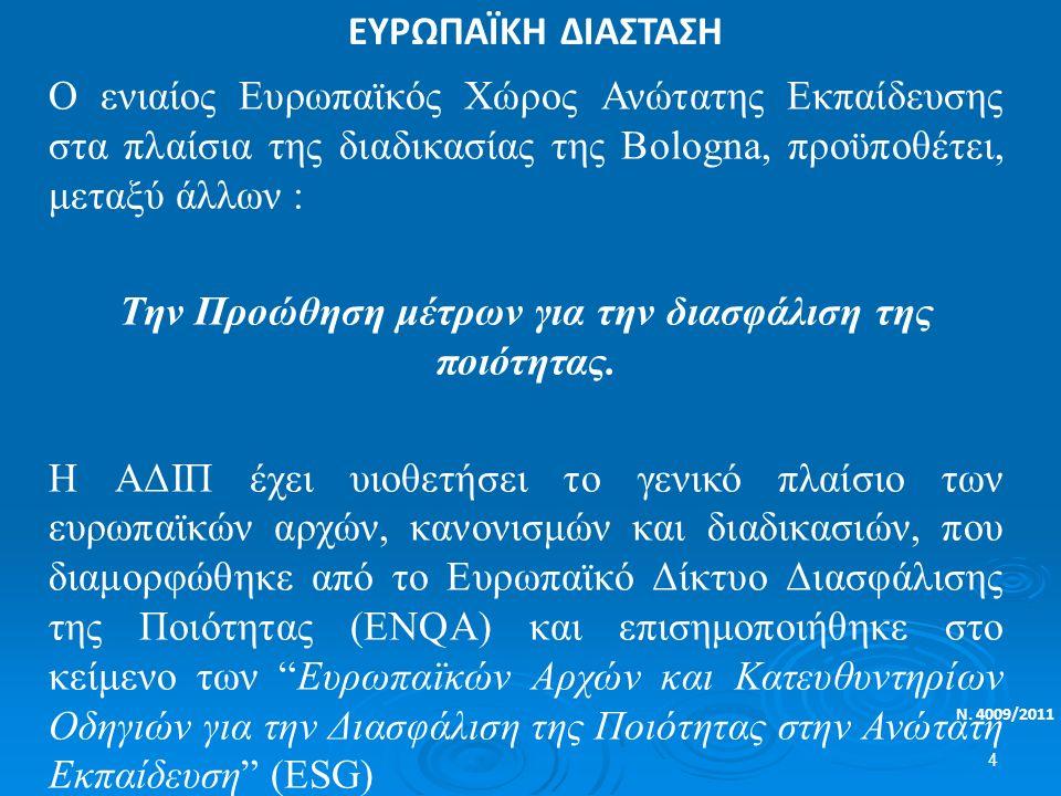 ΕΥΡΩΠΑΪΚΗ ΔΙΑΣΤΑΣΗ Ν. 4009/2011 O ενιαίος Ευρωπαϊκός Χώρος Ανώτατης Εκπαίδευσης στα πλαίσια της διαδικασίας της Bologna, προϋποθέτει, μεταξύ άλλων : Τ