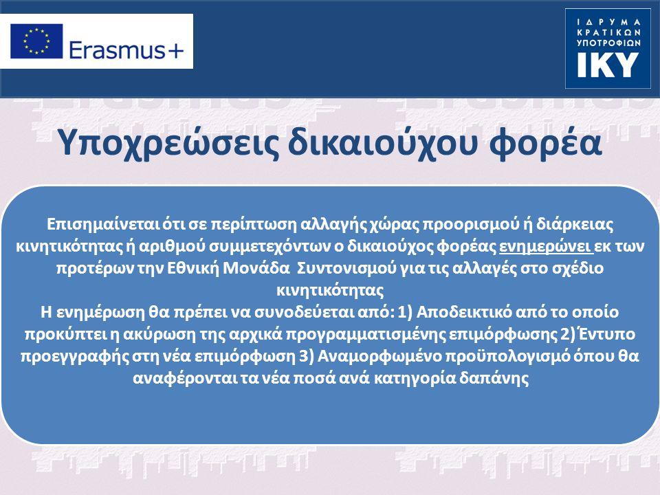 Υποχρεώσεις δικαιούχου φορέα Επισημαίνεται ότι σε περίπτωση αλλαγής χώρας προορισμού ή διάρκειας κινητικότητας ή αριθμού συμμετεχόντων ο δικαιούχος φορέας ενημερώνει εκ των προτέρων την Εθνική Μονάδα Συντονισμού για τις αλλαγές στο σχέδιο κινητικότητας Η ενημέρωση θα πρέπει να συνοδεύεται από: 1) Αποδεικτικό από το οποίο προκύπτει η ακύρωση της αρχικά προγραμματισμένης επιμόρφωσης 2) Έντυπο προεγγραφής στη νέα επιμόρφωση 3) Αναμορφωμένο προϋπολογισμό όπου θα αναφέρονται τα νέα ποσά ανά κατηγορία δαπάνης