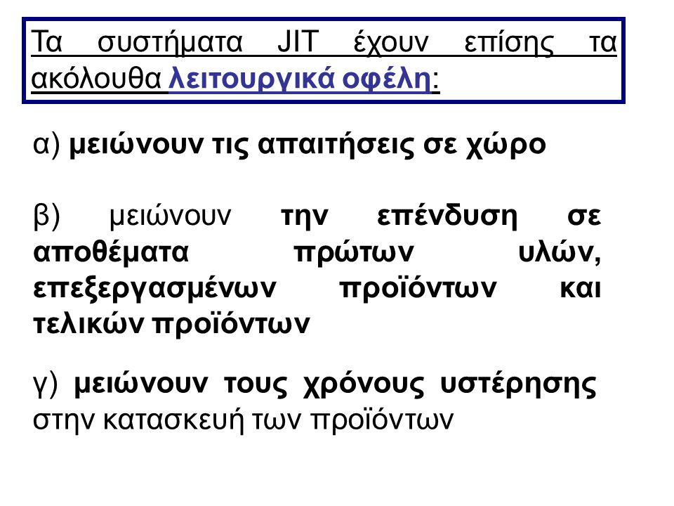 Τα συστήματα JIT έχουν επίσης τα ακόλουθα λειτουργικά οφέλη: α) μειώνουν τις απαιτήσεις σε χώρο β) μειώνουν την επένδυση σε αποθέματα πρώτων υλών, επε