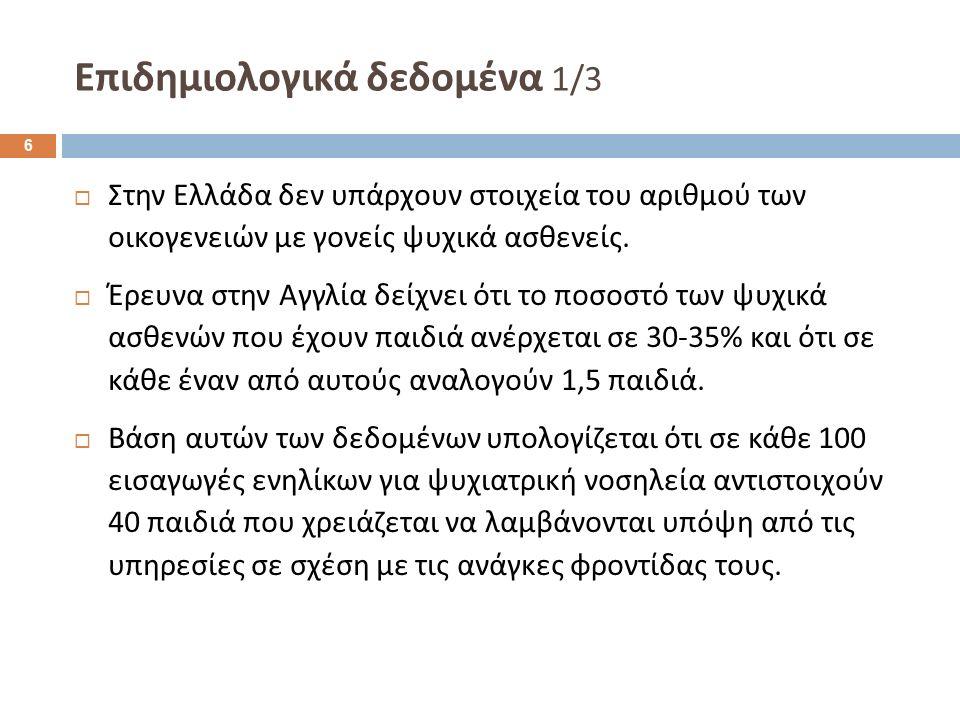 Επιδημιολογικά δεδομένα 1/3  Στην Ελλάδα δεν υπάρχουν στοιχεία του αριθμού των οικογενειών με γονείς ψυχικά ασθενείς.  Έρευνα στην Αγγλία δείχνει ότ