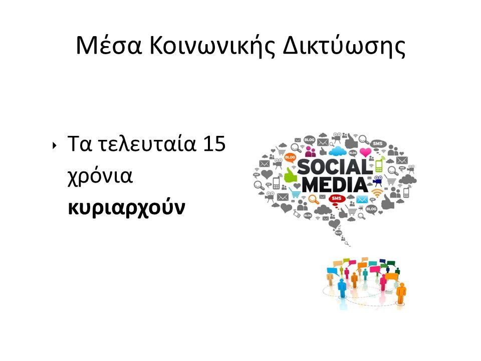 Mέσα Κοινωνικής Δικτύωσης ‣ Τα τελευταία 15 χρόνια κυριαρχούν