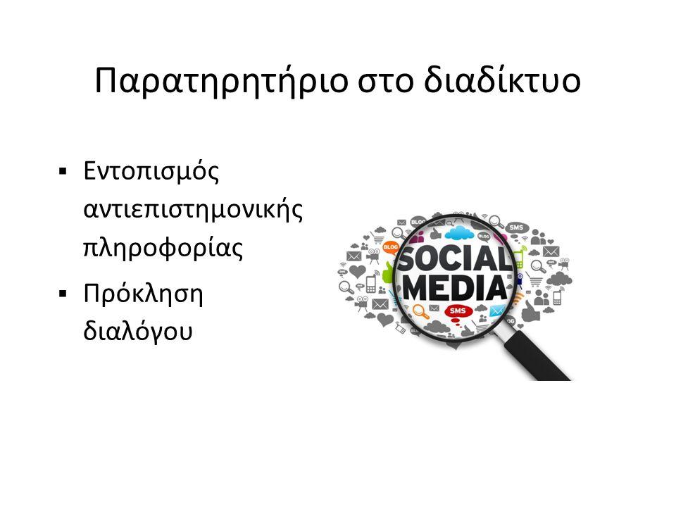 Παρατηρητήριο στο διαδίκτυο  Εντοπισμός αντιεπιστημονικής πληροφορίας  Πρόκληση διαλόγου