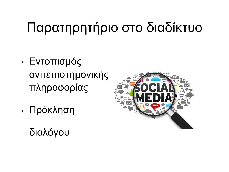 Παρατηρητήριο στο διαδίκτυο ‣ Εντοπισμός αντιεπιστημονικής πληροφορίας ‣ Πρόκληση διαλόγου