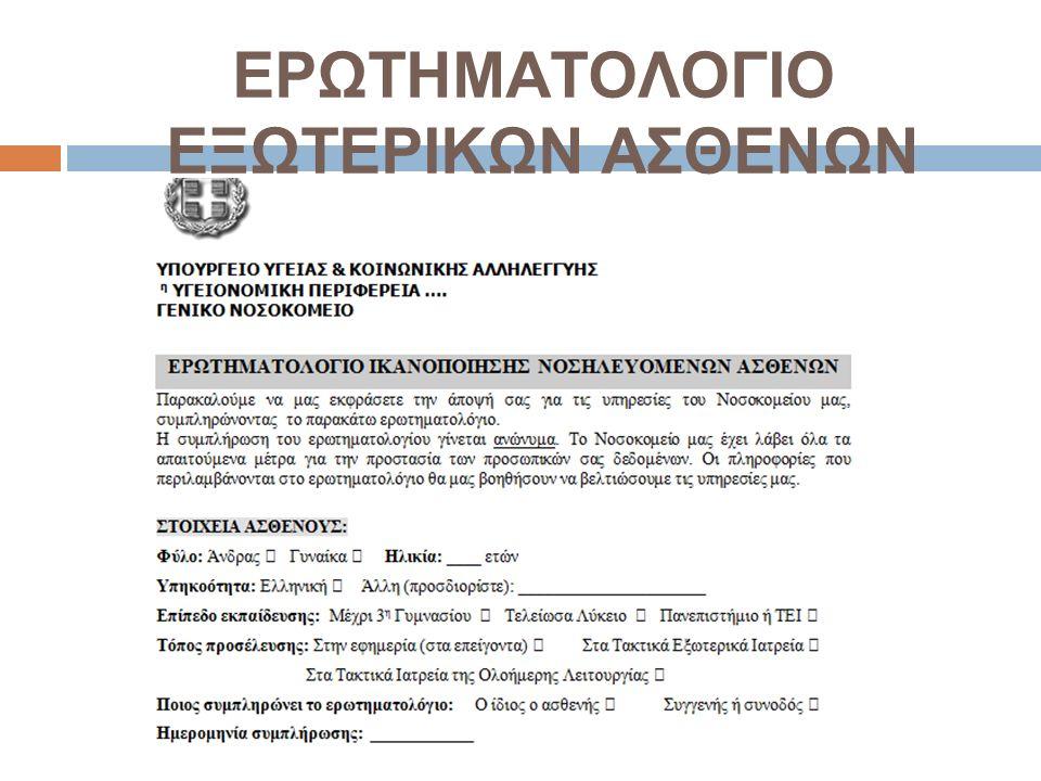 ΕΡΩΤΗΜΑΤΟΛΟΓΙΟ ΕΞΩΤΕΡΙΚΩΝ ΑΣΘΕΝΩΝ