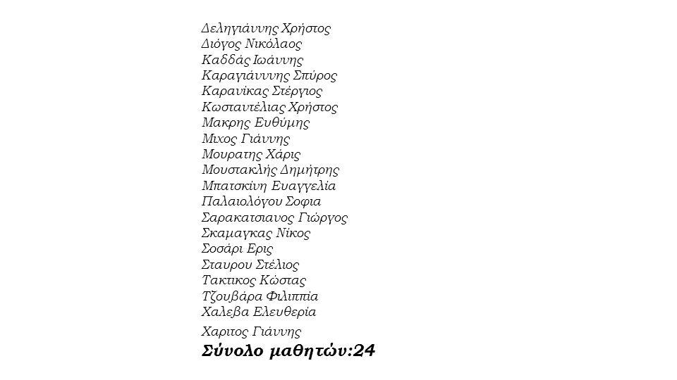 Δεληγιάννης Χρήστος Διόγος Νικόλαος Καδδάς Ιωάννης Καραγιάνννης Σπύρος Καρανίκας Στέργιος Κωσταντέλιας Χρήστος Μακρης Ευθύμης Μιχος Γιάννης Μουρατης Χάρις Μουστακλής Δημήτρης Μπατσκίνη Ευαγγελία Παλαιολόγου Σοφια Σαρακατσιανος Γιώργος Σκαμαγκας Νίκος Σοσάρι Ερις Σταυρου Στέλιος Τακτικος Κώστας Τζουβάρα Φιλιππία Χαλεβα Ελευθερία Χαριτος Γιάννης Σύνολο μαθητών:24