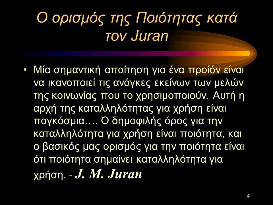 4 Ο ορισμός της Ποιότητας κατά τον Juran Μία σημαντική απαίτηση για ένα προίόν είναι να ικανοποιεί τις ανάγκες εκείνων των μελών της κοινωνίας που το χρησιμοποιούν.