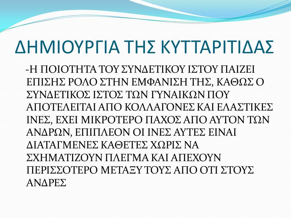 ΔΗΜΙΟΥΡΓΙΑ ΚΥΤΤΑΡΙΤΙΔΑΣ ΑΛΛΟΙ ΠΑΡΑΓΟΝΤΕΣ -ΑΝΤΙΣΥΛΛΗΠΤΙΚΑ ΧΑΠΙΑ: ΚΑΤΑΚΡΑΤΗΣΗ ΝΕΡΟΥ -ΘΕΡΑΠΕΙΕΣ ΠΟΥ ΔΕΝ ΕΧΟΥΝ ΕΦΑΡΜΟΣΤΕΙ ΣΩΣΤΑ (ΕΠΙΠΟΝΑ ΜΑΣΑΖ ΠΟΥ ΤΡΑΥΜΑΤΙΖΟΥΝ ΤΟΝ ΙΣΤΟ) -ΚΑΘΙΣΤΙΚΗ ΖΩΗ, ΕΛΛΕΙΨΗ ΑΣΚΗΣΗΣ: ΜΕΙΩΜΕΝΟΣ ΕΦΟΔΙΑΣΜΟΣ ΟΞΥΓΟΝΟΥ ΚΑΙ ΚΑΥΣΗΣ ΤΟΥ ΜΕΤΑΒΟΛΙΣΜΟΥ
