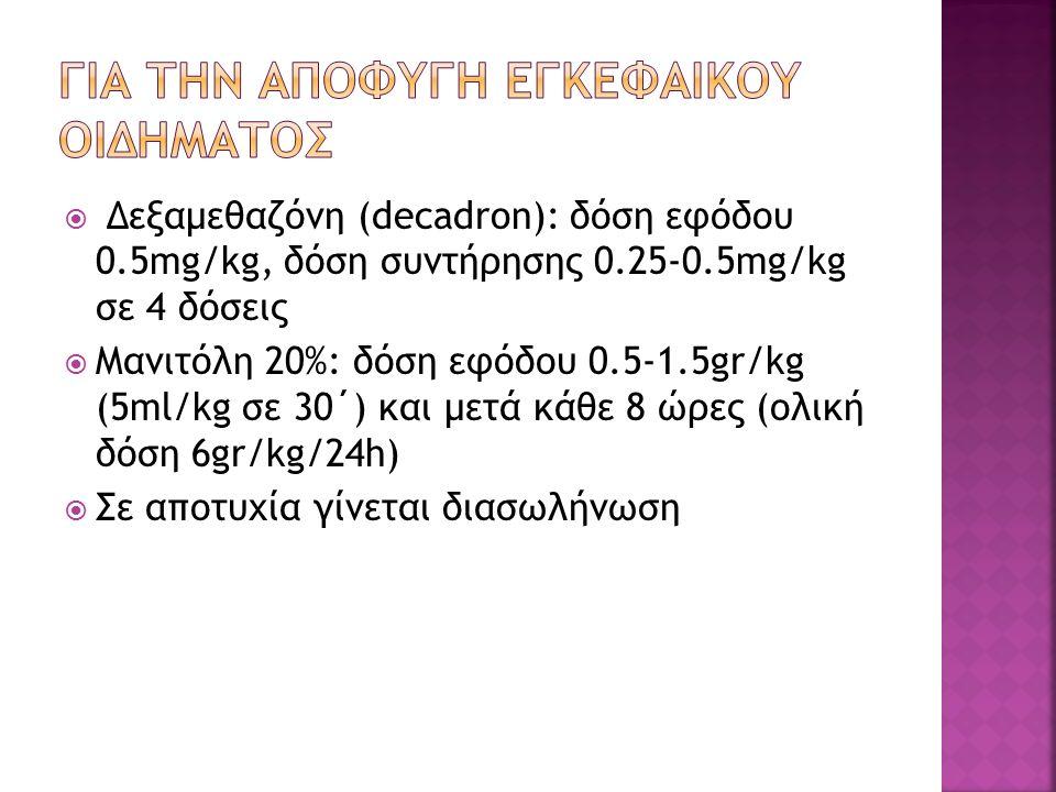  Δεξαμεθαζόνη (decadron): δόση εφόδου 0.5mg/kg, δόση συντήρησης 0.25-0.5mg/kg σε 4 δόσεις  Μανιτόλη 20%: δόση εφόδου 0.5-1.5gr/kg (5ml/kg σε 30΄) και μετά κάθε 8 ώρες (ολική δόση 6gr/kg/24h)  Σε αποτυχία γίνεται διασωλήνωση