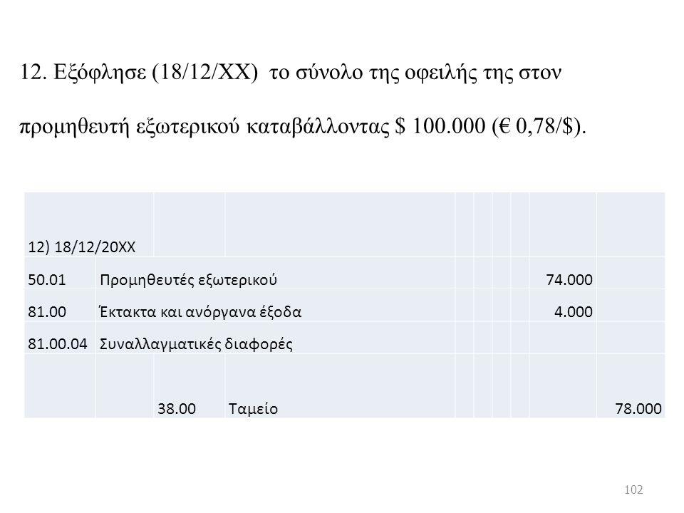 12. Εξόφλησε (18/12/ΧΧ) το σύνολο της οφειλής της στον προμηθευτή εξωτερικού καταβάλλοντας $ 100.000 (€ 0,78/$). 12) 18/12/20ΧΧ 50.01Προμηθευτές εξωτε